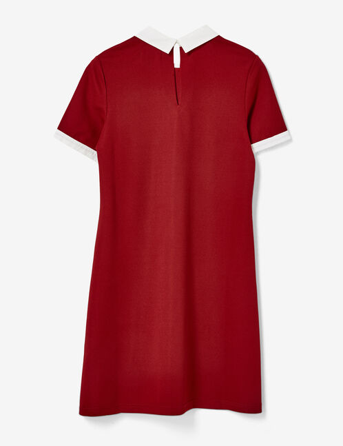 robe avec col blanc bordeaux