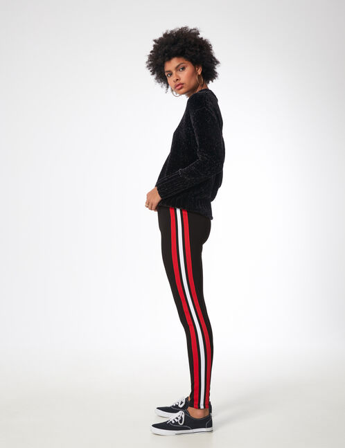 Red leggings with side trim detail