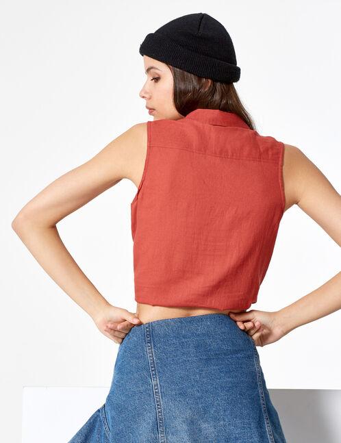 chemisette sans manches rouille