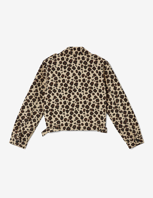 Cropped beige and brown leopard print jacket