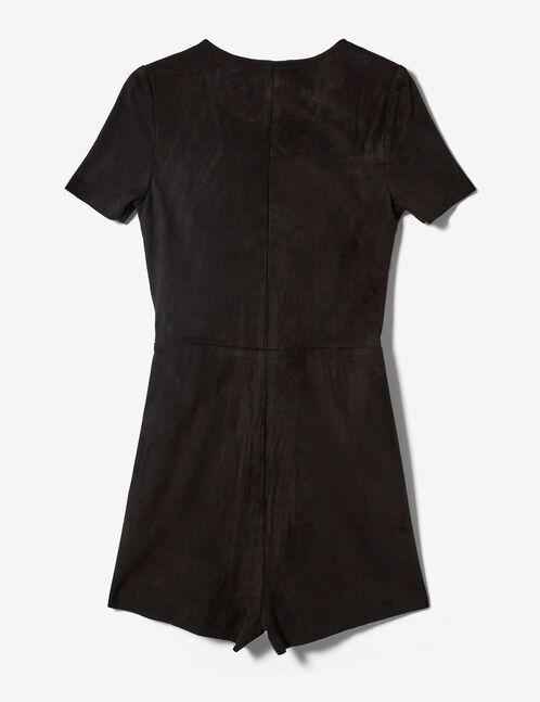 Black faux suede playsuit