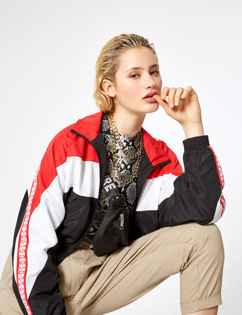 Black, white and red tricolour lightweight jacket