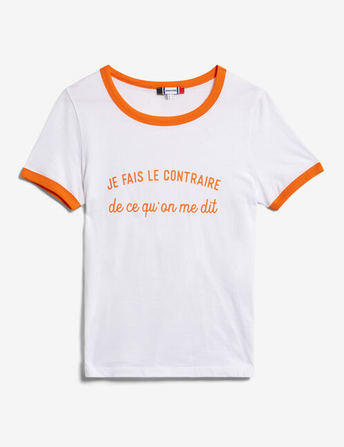 tee-shirt à message blanc et orange