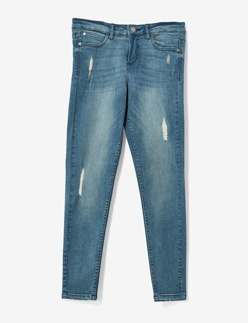 Light blue distressed skinny jeans