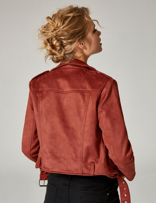 Rust-coloured faux suede biker jacket
