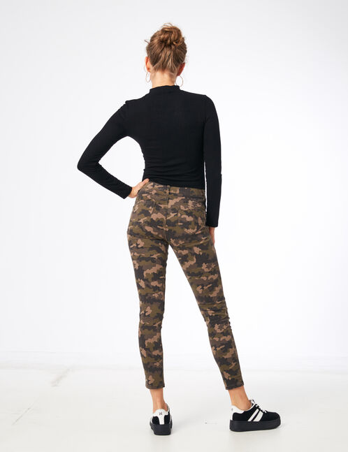 Khaki camouflage print skinny trousers