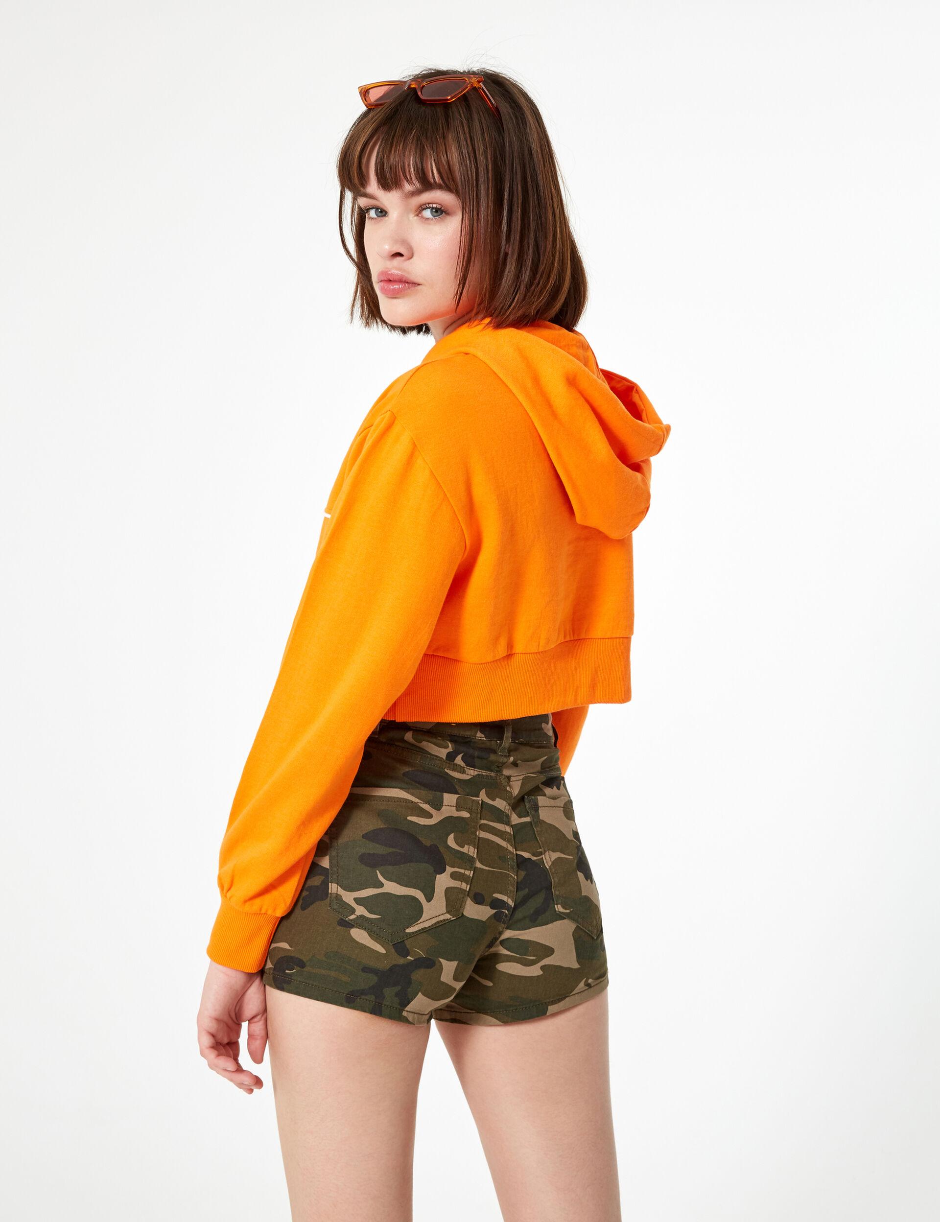 Short basic taille haute camouflage kaki