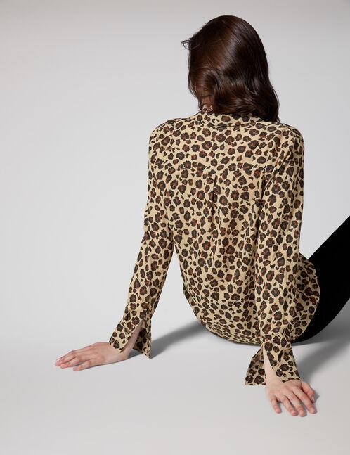 Beige and black leopard print shirt