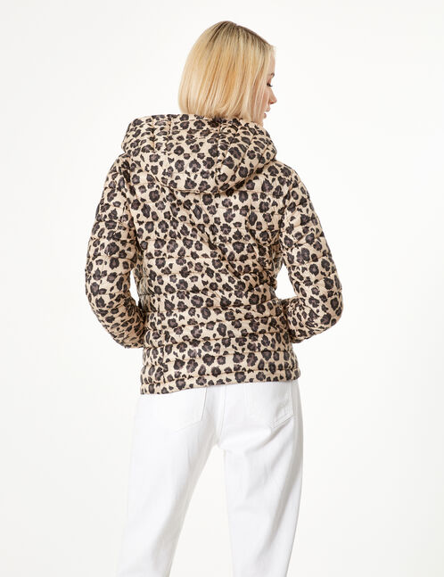 Beige and black leopard print padded jacket