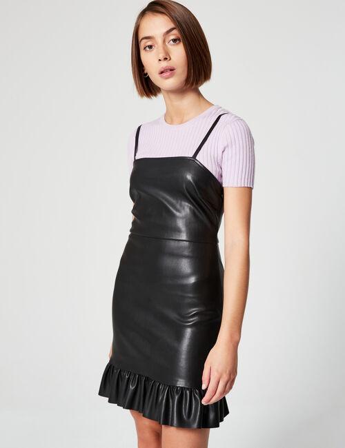 Imitation-leather dress with flounced hem