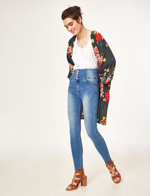 Medium blue super high-waisted jeans