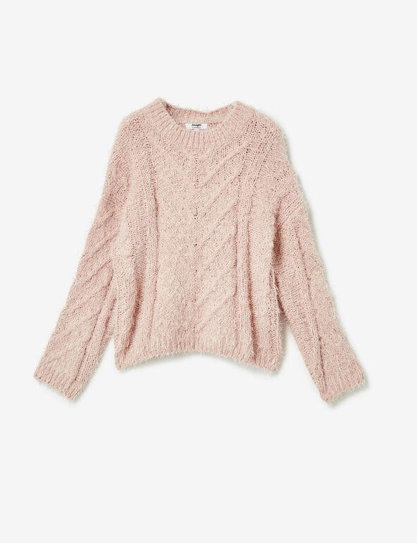 Light pink braided-knit mohair jumper