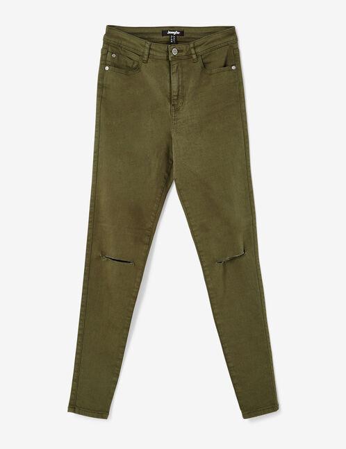 pantalon taille haute à cut kaki