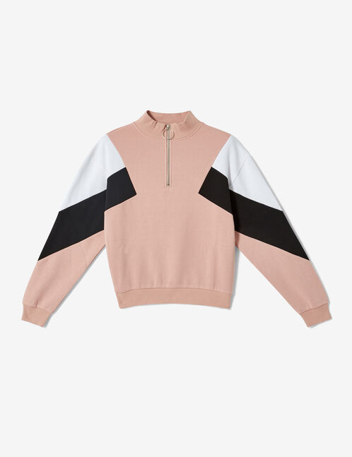 Light pink, white and black sweatshirt with panel detail