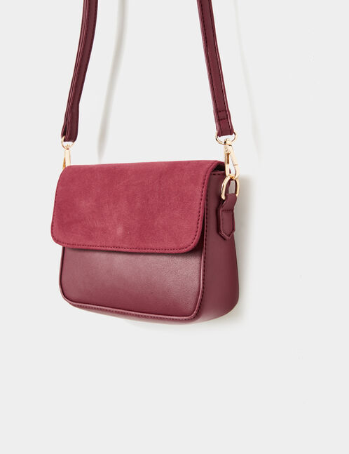Small burgundy mixed fabric crossbody bag