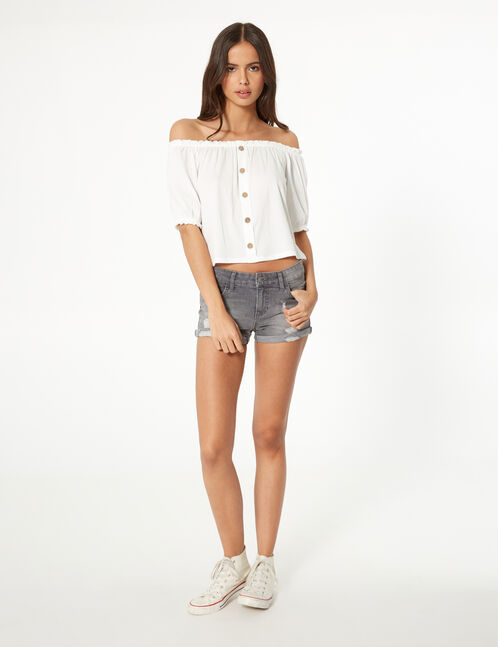 Cream buttoned top