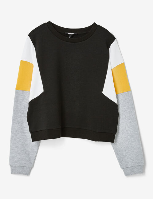 Black, white, ochre and grey marl sweatshirt with panel detail