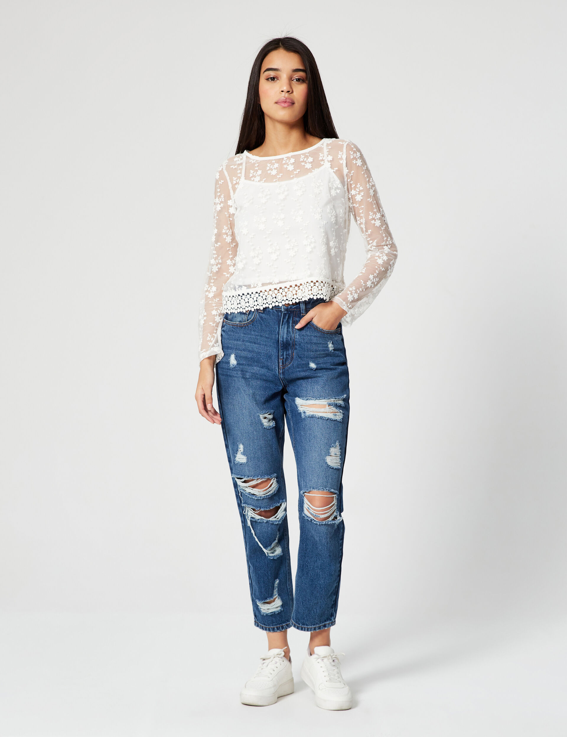 Mesh macramé top