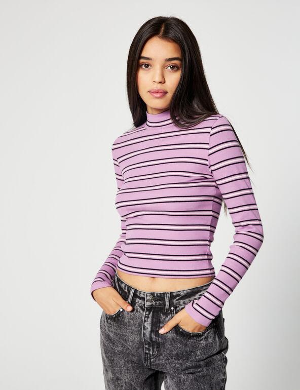 Tee-shirt côtelé rayé