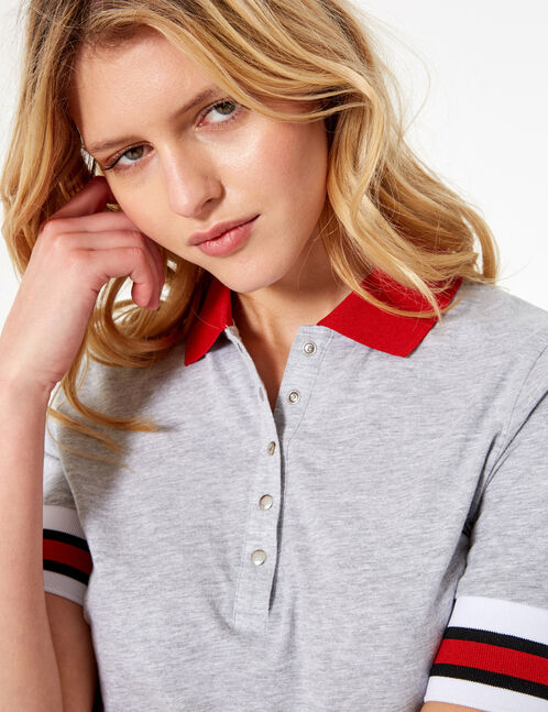 Grey marl and red polo shirt-style T-shirt
