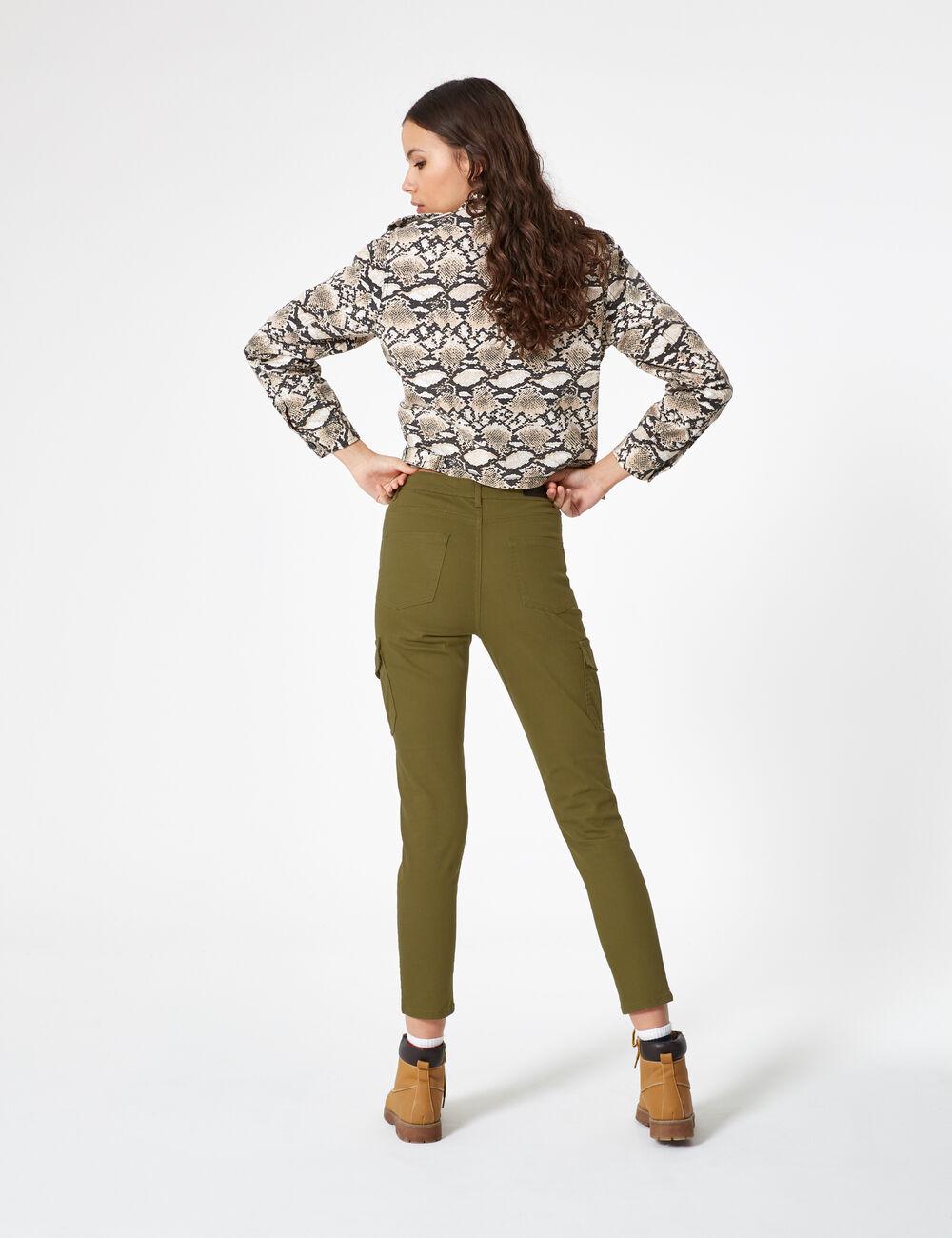 Pantalon cargo coupe skinny kaki femme • Jennyfer