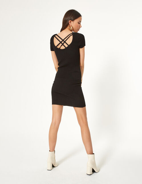 Black jumper dress with lacing detail