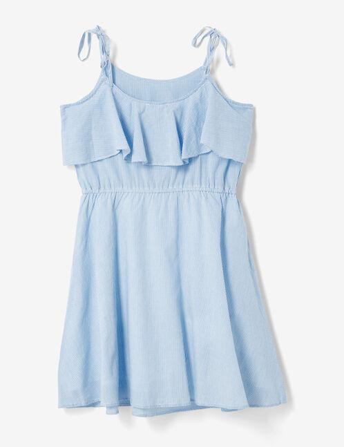 robe rayée avec volant bleue et écrue