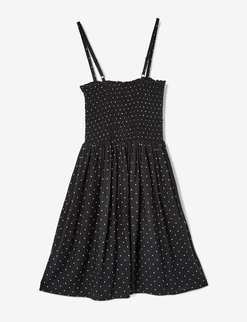 Black smocked polka dot dress