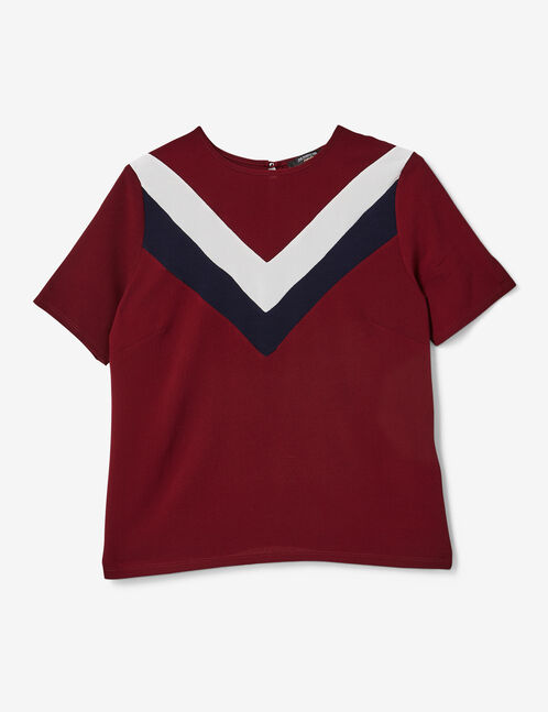 Burgundy, navy blue and cream blouse with chevron detail
