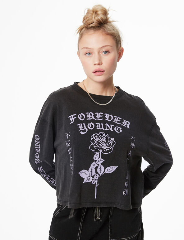 Cropped 'forever young' T-shirt
