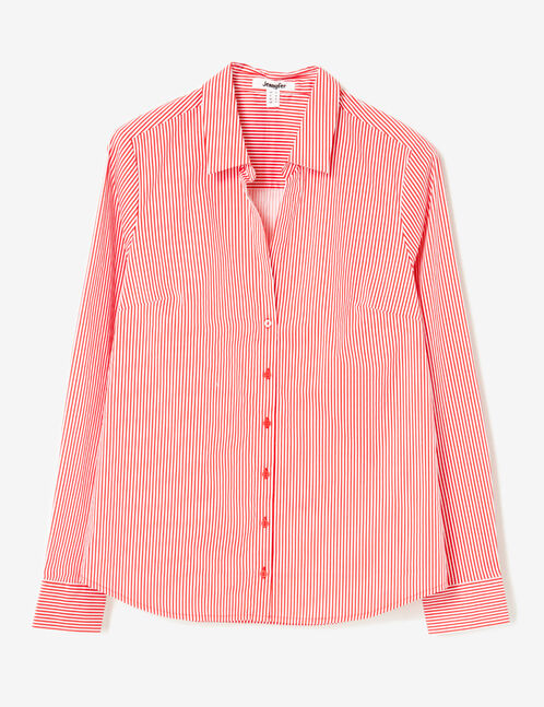 Red and white striped fitted shirt