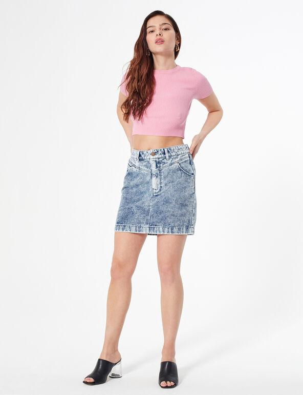 Faded denim skirt