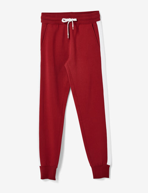 Burgundy joggers with side stripe detail