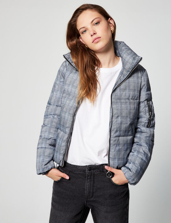 Prince of Wales check padded jacket