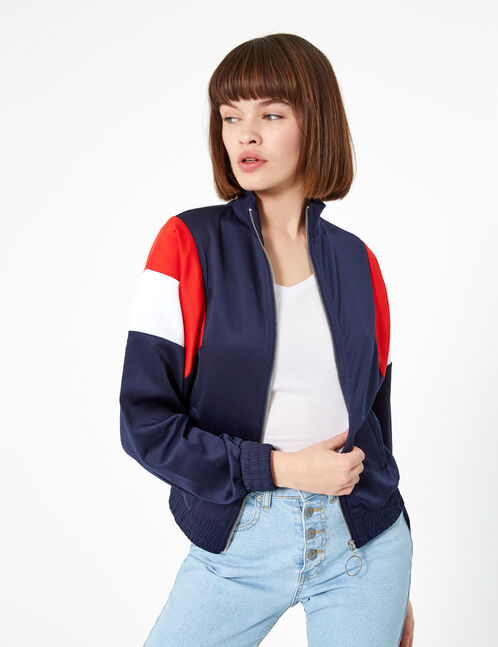 veste de jogging zippée bleu marine, rouge et blanc