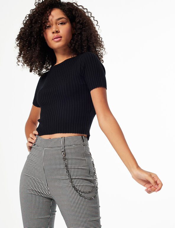Gingham trousers with chain