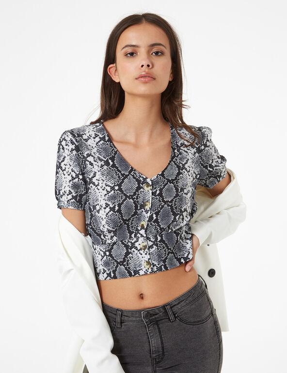 Python print v-neck blouse