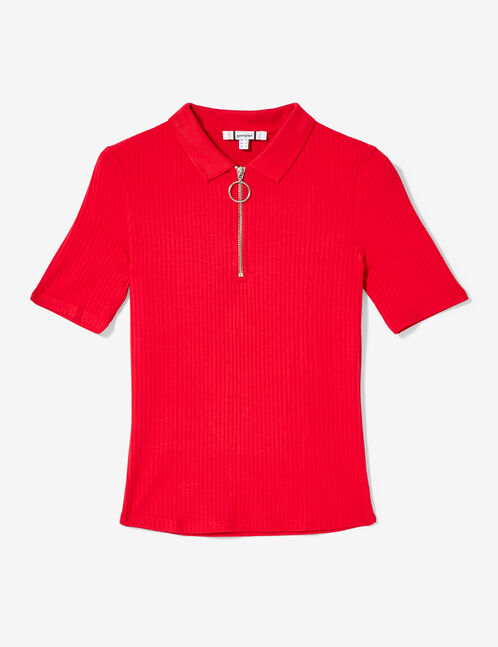 tee-shirt polo zippé rouge