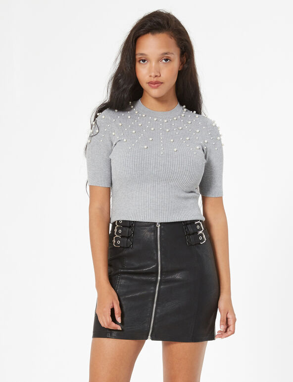 Black skirt with buckles
