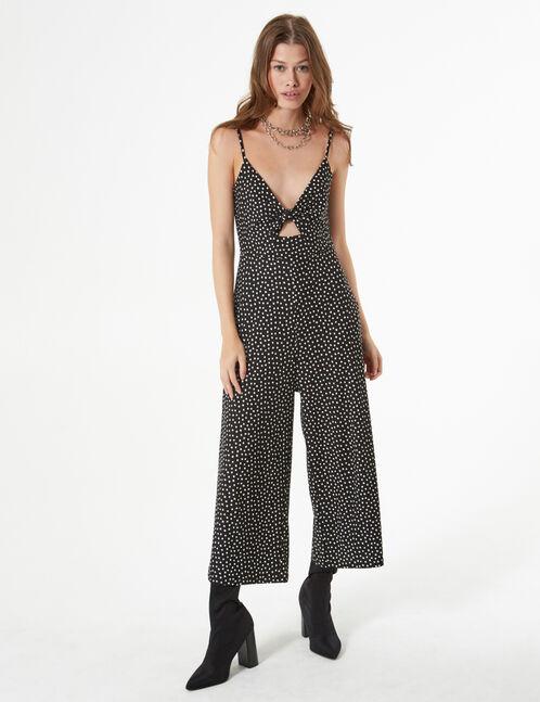 polka dot tie closure jumpsuit