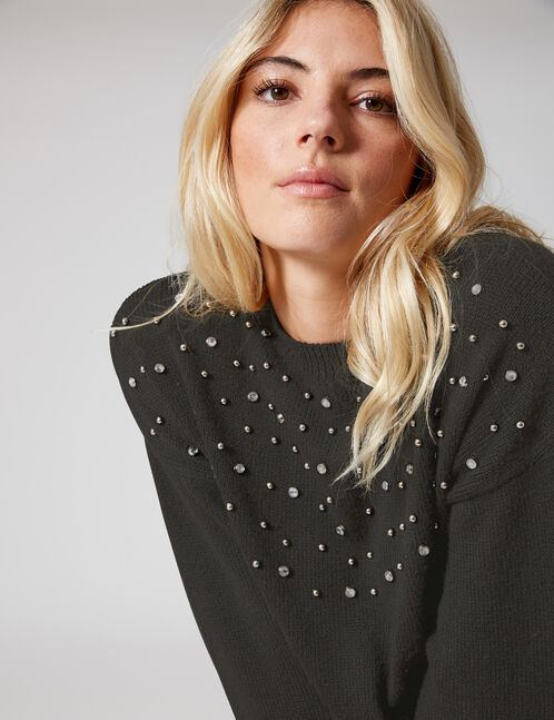 Black jumper with beading detail
