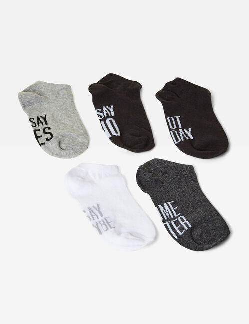 Grey, black and white socks with text design detail