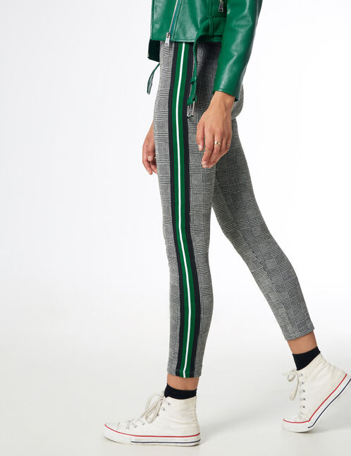 Black and white leggings with side trim detail