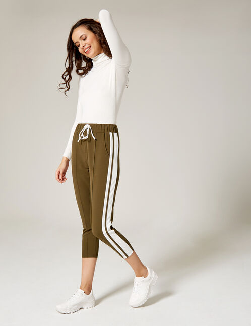 Khaki joggers with side trim detail