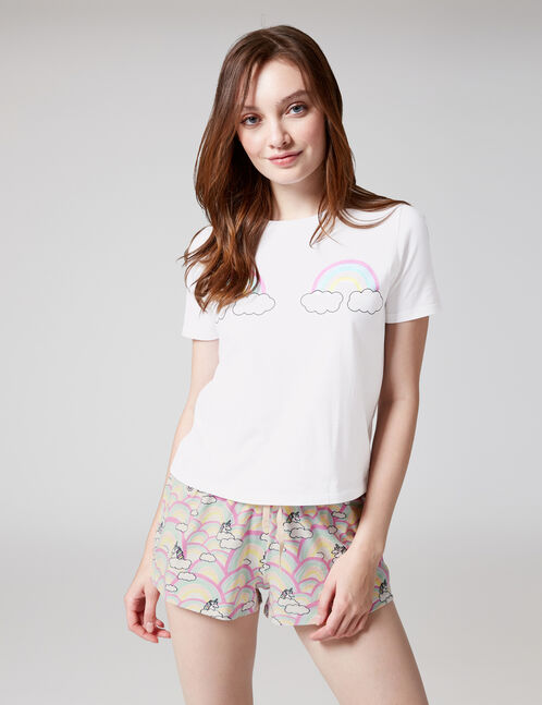 set pyjama arc-en-ciel blanc et multicolore
