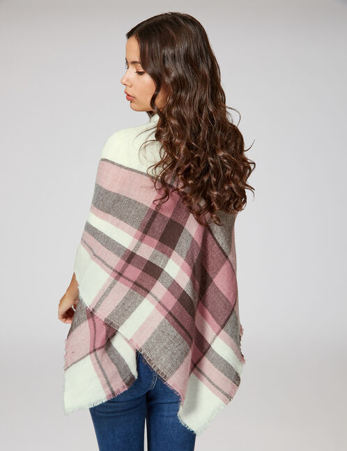 Cream, light pink and brown tartan scarf