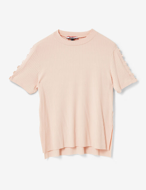 Light pink T-shirt with eyelet detail