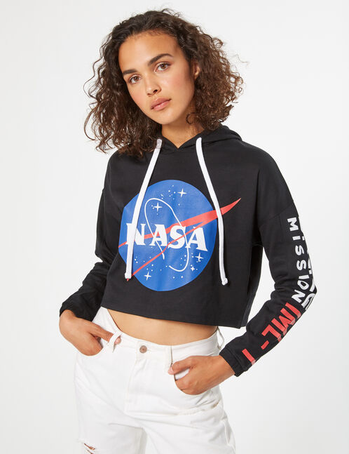sweat crop à capuche nasa