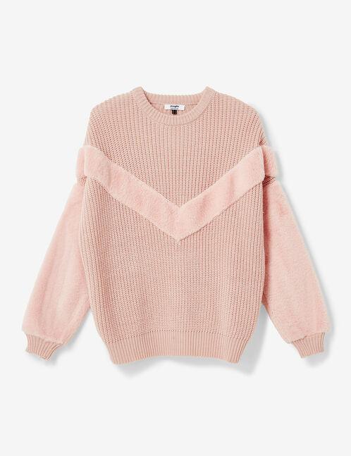 pull bi-matière rose clair