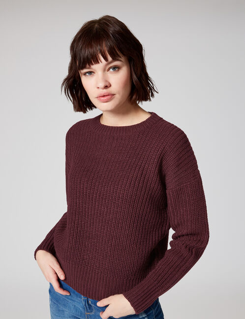 Plum ribbed jumper